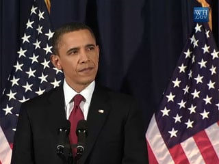 President Barack Obama addresses the nation on the situation in Libya. March 28, 2011.