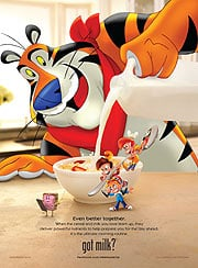 Modern versions of Tony the Tiger and Snap!, Crackle! and Pop!. (©PRNewsFoto/Kellogg Company)